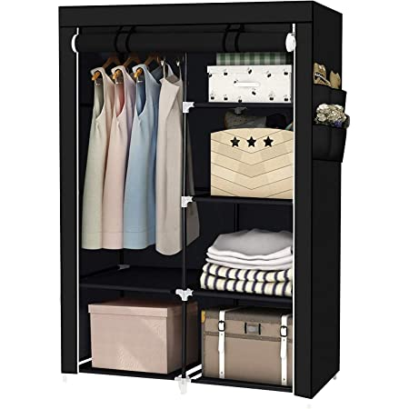 YOUUD Armoire de rangement portable pliable avec 1 rail de suspension, 6 étagères en tissu et tige pour chambre à coucher, vestiaire, dortoir, 167 x 108 x 44 cm (Noir)