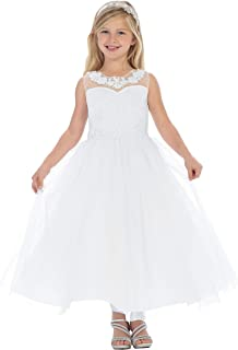 61da42d3a5 Girls Lace First Communion Special Occasion Flower Girl Long Dress 2 to 20