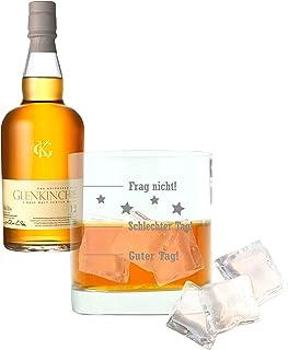 Whiskey 2er Set, Glenkinchie 12 Years / Jahre, Single Malt, Whisky, Scotch, Alkohol, Alokoholgetränk, Flasche, 43%, 700 ml, 605392, Geschenk zum Vatertag, mit graviertem Glas