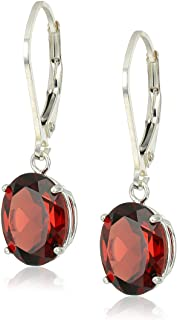 Sterling Silver Oval Created or Genuine Gemstone Dangle Earrings