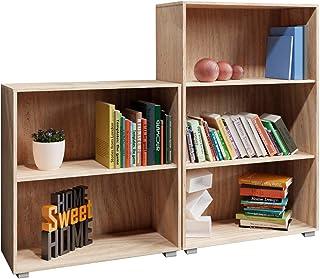 Set d'étagères 2-3 Compartiments bibliothèque Vela Meuble de Rangement Polyvalent Chêne Profondeur 31 cm