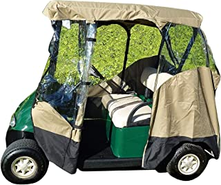 Formosa Covers Premium Tight Weave 3 Sided Drive-able Golf Cart 2 Passenger Enclosure with Zippered Door, fits EZ Go, Club Car, Yamaha The Drive2 Fleet and Yamaha G2 Models roof up to 58