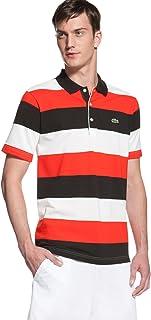 Lacoste Short Sleeve Bold Stripe Cool Plus Polo DH0005-51 WHITE BLACK-MATADOR RED