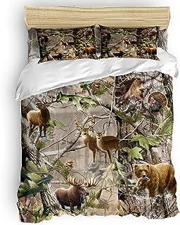 Romance House Duvet Cover Set California King Size, 3 Piece Realtree Camo Rustic Deer Elk Bird Bear Bedding Set - 1 Quilt ...