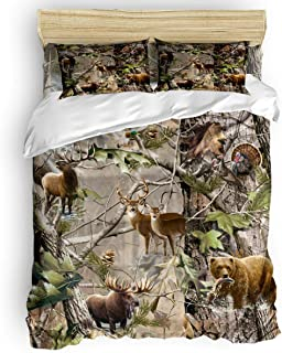 Bedding Set 4 Piece Duvet Cover Set- King Size Ultra Soft Microfiber Quilt Cover with Zipper Closure (1 Comforter Cover + 1 Fitted Sheet + 2 Pillow Shams)- Bird Bear Deer Elk Realtrees Real Tree