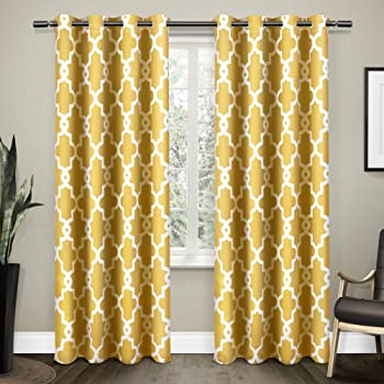 Exclusive Home Ironwork Sateen Woven Blackout Grommet Top Curtain Panel Pair, 52x84, Sundress Yellow, 2 Count