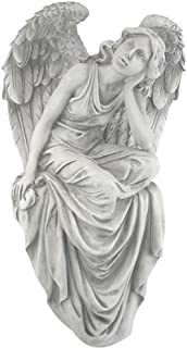 Design Toscano Resting Grace Angel Sitting Garden Statue, Large, 18 Inch, Polyresin, Ancient Ivory