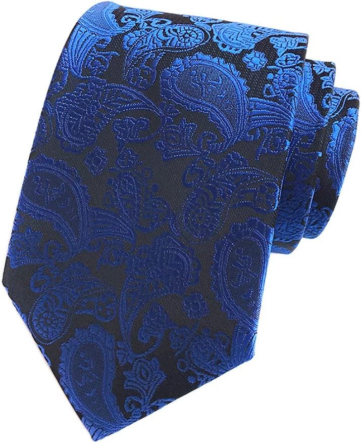 Eeleva Men's Paisley Prom Jacquard Woven Necktie Hanky Sets Neckties & Pocket Square (Royal Blue)