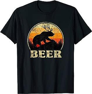 Bear Deer Funny Beer Retro Vintage T-Shirt