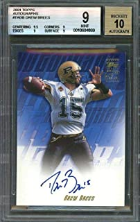 2001 topps autographs #tadb DREW BREES saints rookie BGS 9 (9.5 9 9 9) AUTO 10 - Football Slabbed Autographed Rookie Cards