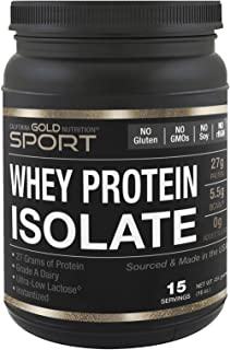California Gold Nutrition SPORT Whey Protein Isolate Unflavored 90 Protein Fast Absorption Easy to Digest Single Source Gr...