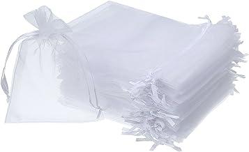 Gaoominy 50 stuks 4 door 6 organza geschenkzakken koord sieraden zakjes bruiloft partij gunst tassen (wit)