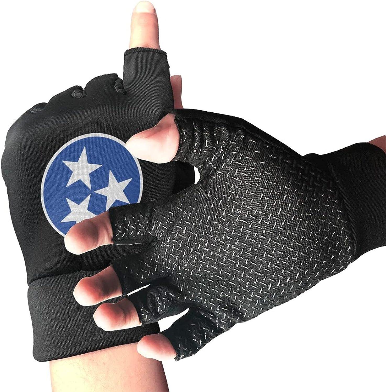 Tennessee Flag Non-Slip Working Gloves Breathable Sunblock Fingerless Gloves For Women Men