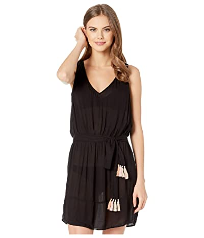 BECCA by Rebecca Virtue Jetsetter Crinkled Rayon Dress Cover-up (Black) Women