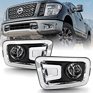 ACANII - For 2016-2019 Nissan Titan/Titan XD Bumper Fog Lights Driving Lamps w/Complete Kit Assembly Driver & Passenger