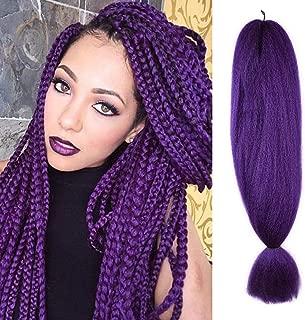 FASHION LADY Kanekalon Jumbo Braiding Hair 1Pcs/Lot Purple Braiding Hair Extensions Kanekalon 48Inch African Hair Braiding 57G/pc Synthetic Straight Crochet Braids Hairstyles(48Inch 57g/PC, Purple)
