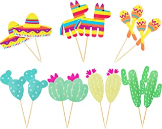 Boao 70 Pieces Fiesta Cupcake Toppers Maraca Sombrero Cactus Cake Toppers Fiesta Theme Party Supplies Party Cake Picks Decor Set