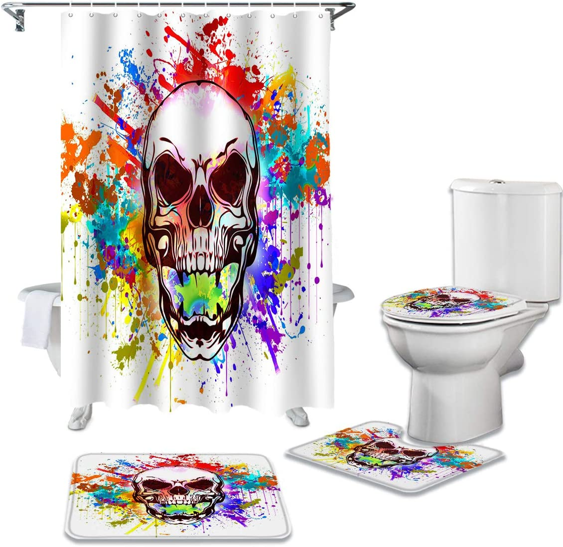 CHARMHOME 4 Piece Shower Curtain Toilet Rug Non-Slip Max Rare 66% OFF with Sets