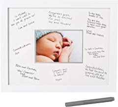 Pearhead Signature Frame Guest Book – Perfect for Any Baby Registry, Includes Mat for Guests to Leave Well-Wishes– Great for Celebrating Baby Showers, Birthdays or Any Special Event, White