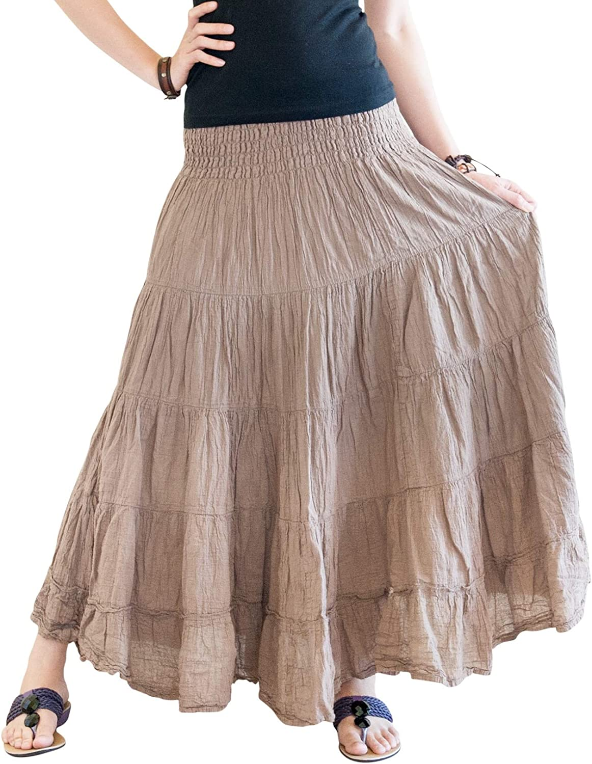 BohoHill Broomstick Tiered Shirred Long Skirt Bohemian Gypsy Style