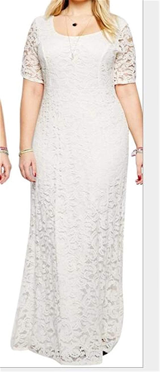 BU2H Womens Plus Size Spring Sleeveless Lace Long Party Prom Gown Formal Dress