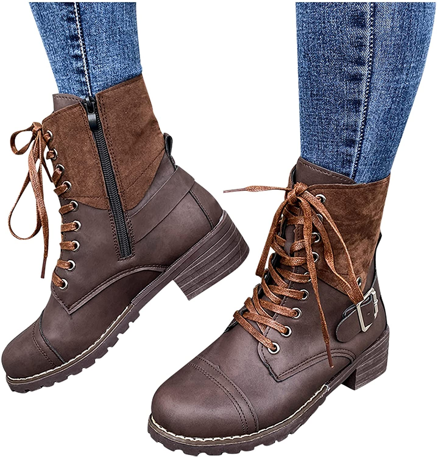 NLOMOCT Boots for Women Ankle Booties, Round Toe Buckle Strap Mid Calf Boots Winter Warm Platform Boots Snow