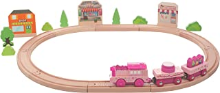 On Track USA Motorized Princess Fairy Town Train Set for Girls, 40 Piece Wooden Train Town Set with Battery Operated Singing Tracks and Accessories Compatible with Thomas, Brio, Melissa and Doug