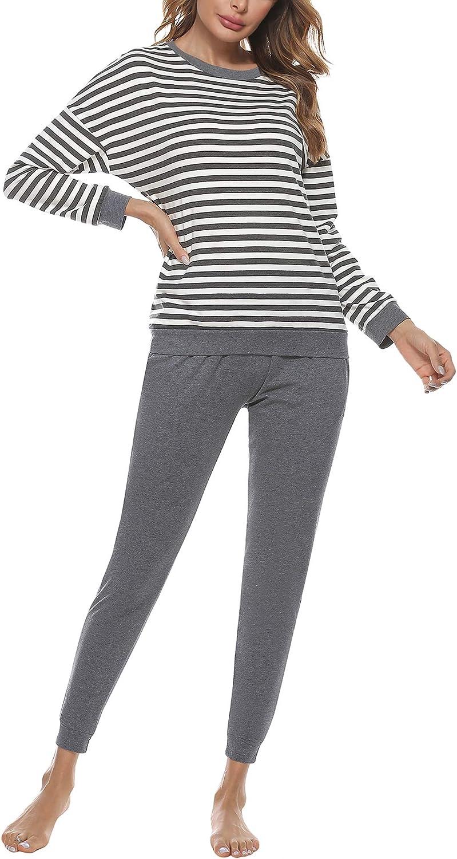 Doaraha Women's Striped 100% Cotton Pajama Set Long Sleeve Sleepwear Soft 2 Piece Pjs Lounge Sets