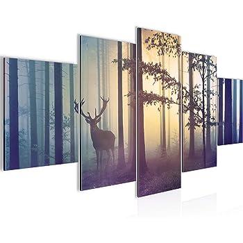 WALD WINTER HIRSCH Wandbilder Bilder Vlies Leinwand Leinwandbilder c-B-0521-b-m