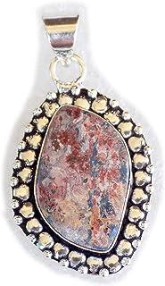 Leopard Skin Jasper Pendant, Silver Plated Brass Pendant, Handmade Pendant, Gift Jewelry, Women Jewellry, Fashion Jewellry...