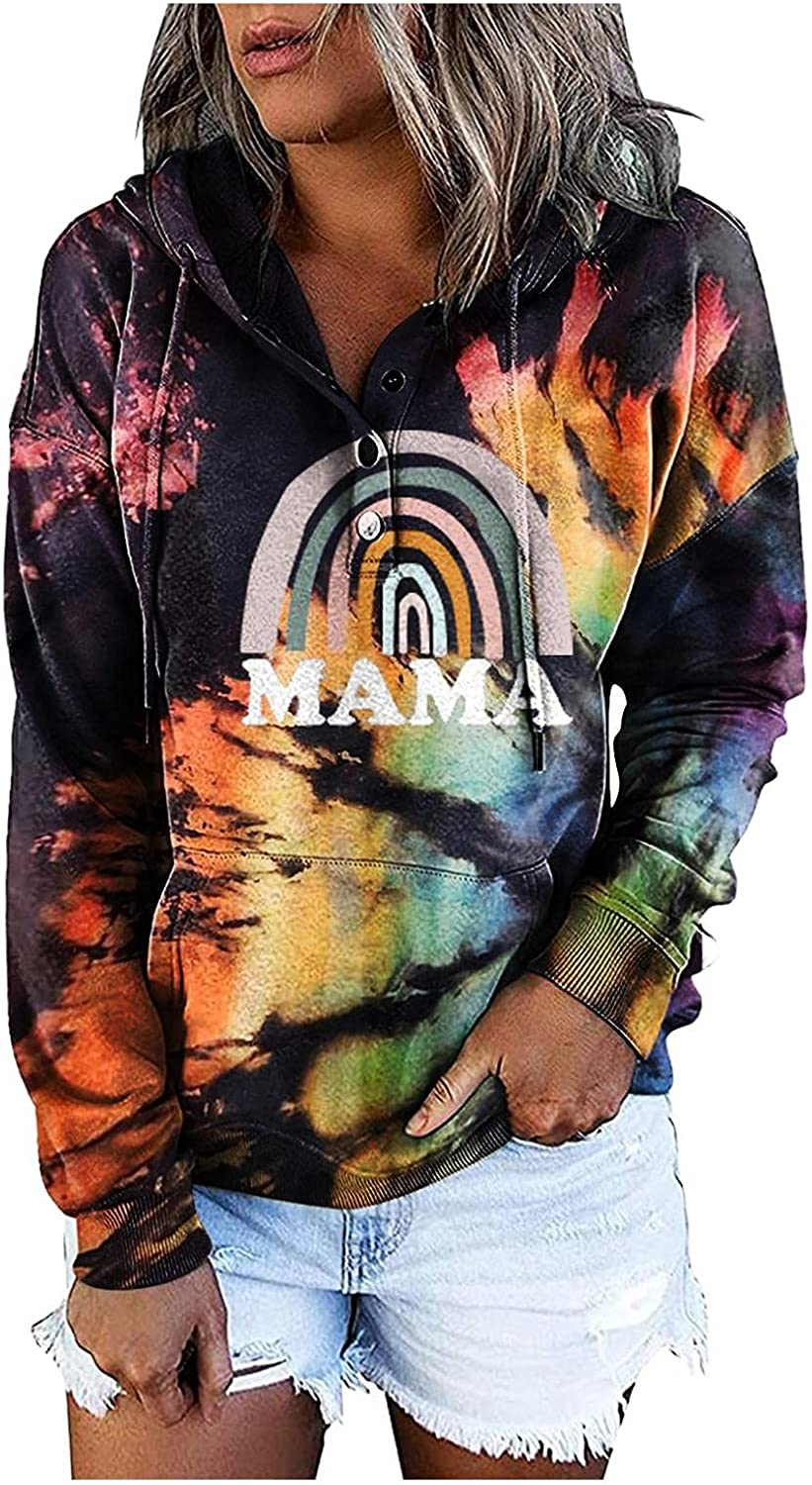 POLLYANNA KEONG BABAKE Hoodies for Women Fashion Tie Dye Long Sleeve Sweatshirts Letter Graphic Loose Tops Blouses