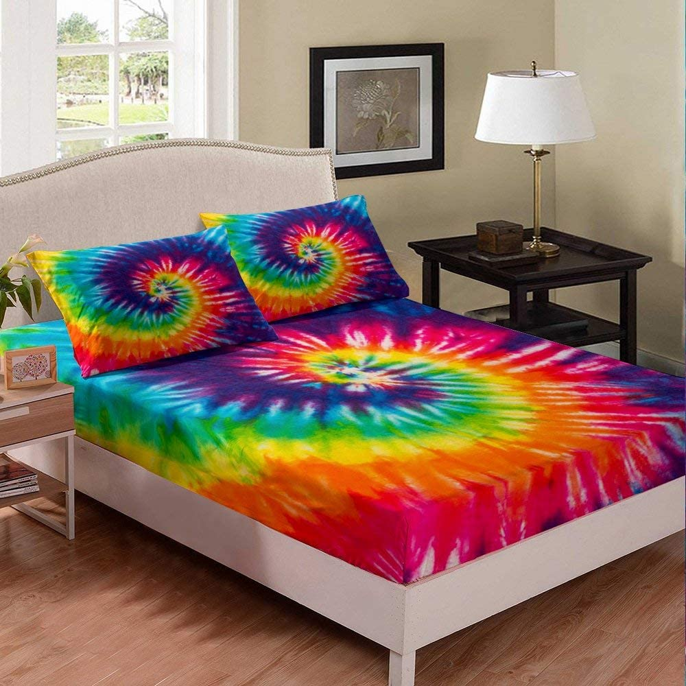 Tie-Dye Bed Max 50% OFF Sheet Girl Twin Colorful Bedding Columbus Mall Ch Rainbow Chic Set