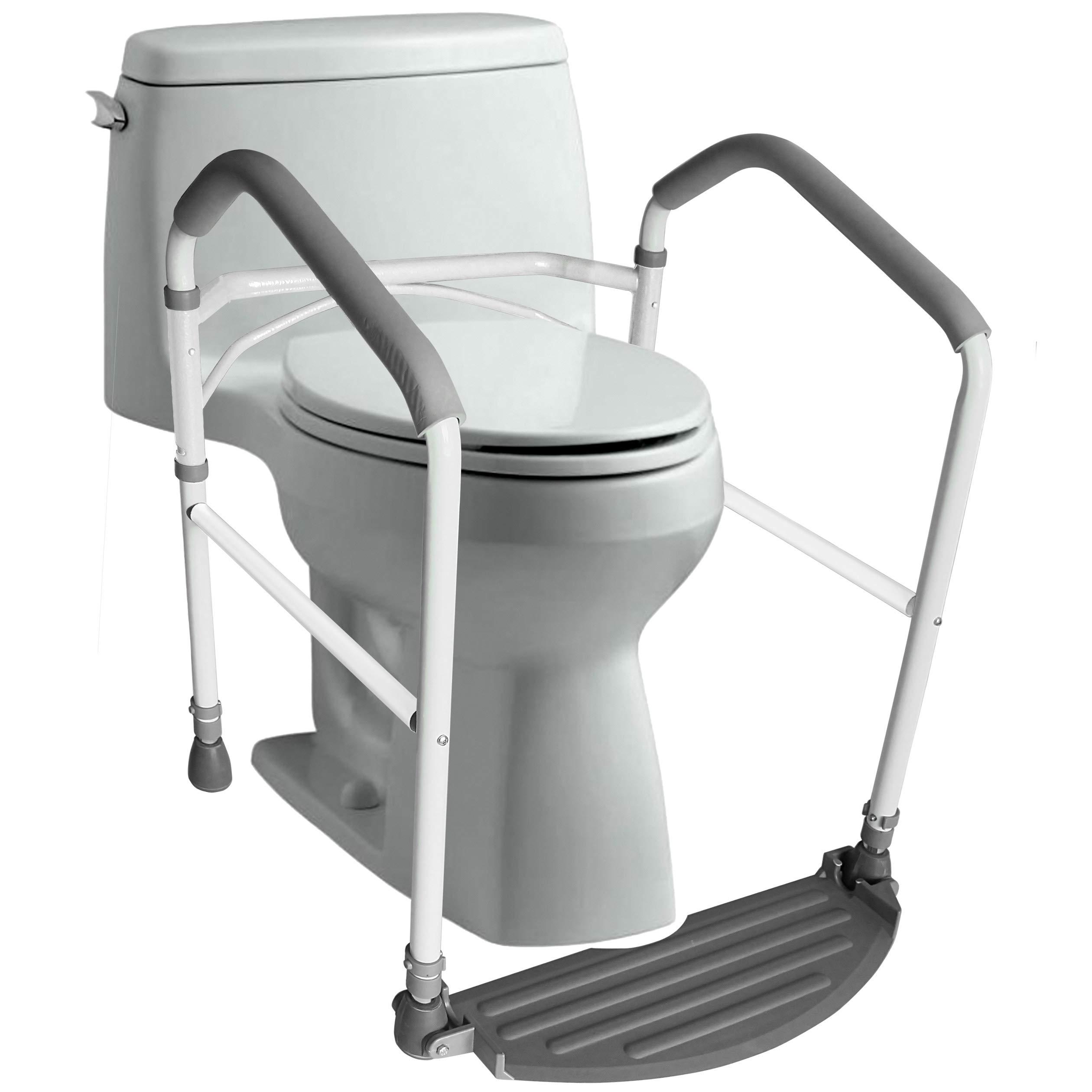 Amazon Com Rms Toilet Safety Frame Rail Folding Portable Bathroom Toilet Safety Rails Handrail Toilet Bars With Adjustable Height White Furniture Decor