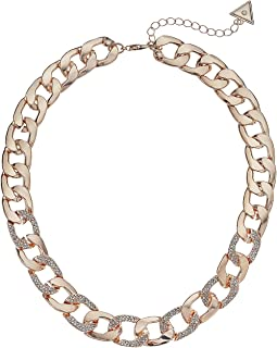 "Chain Link Necklace with Pave Accents 16"" with 2"" Extender"