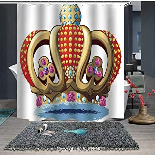 Elegant Shower Curtain Royal Family Nobility Crown with Colorful Ornaments Image for Sovereign Print Decorative (72W x 72L Inch) Colorful,bold design, waterproof, Easy to care ,privacy protection
