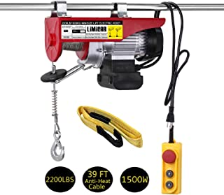 LIMICAR 2200LBS Overhead Lift Electric Hoist Crane Garage Ceiling Pulley Winch Remote Control Power System with Premium Straps 6.6'x3