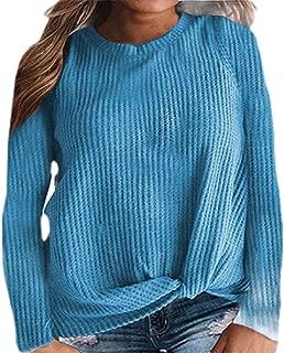 Macondoo Womens Crew-Neck Long Sleeve Rib-Knit Plain Top Tees T-Shirts