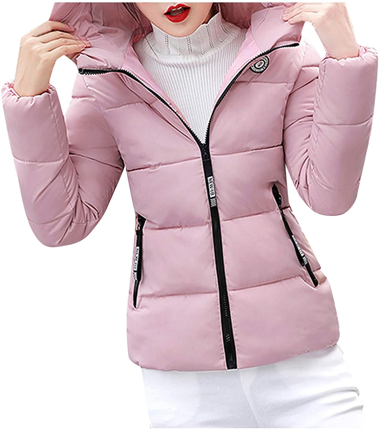 XCeihe Womens Quilted Padded Puffer- Bubble Winter Coat Hooded Jacket Warm Plus