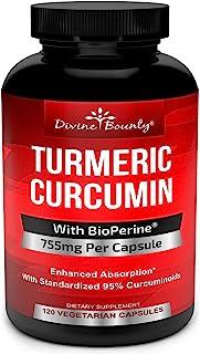 Turmeric Curcumin with BioPerine Black Pepper Extract - 750mg per Capsule, 120 Veg. Capsules - GMO Free Tumeric, Standardi...