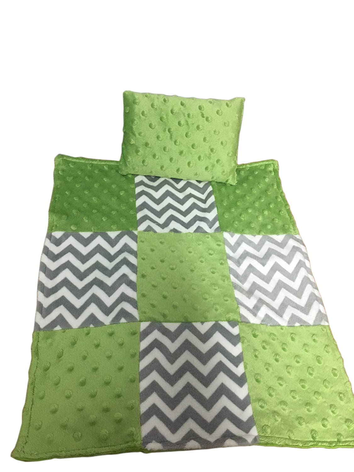 Baby Doll Cuddly Minky Chevron Patch Doll Blanket and Pillow Set, Green Apple