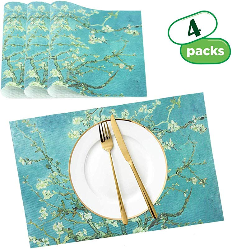 QIELIZI Placemats Colour Print PVC Placemats For Dining Table Coffee Table Dinner Table Heat Resistant Placemats Stain Resistant Washable PVC Table Mats Kitchen Table Mats Sets 4 Peach Blossom