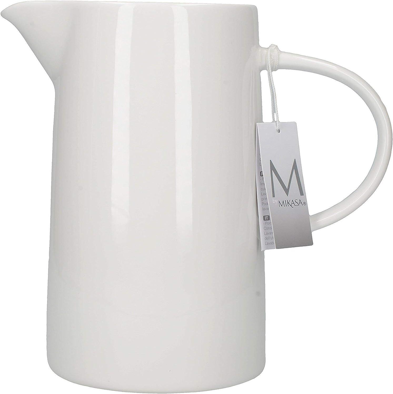 MIKASA cerámica vidriada Agua Jarra, Porcelana, Color Blanco