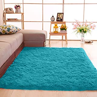 gdmgdr Soft and Fluffy Nursery Rugs Ultra Soft 4cm Thick Indoor Morden Shaggy Area Rugs Bedroom Carpet Living Room Rugs 4 Feet by 5.3 Feet, Blue