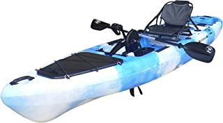 BKC PK13 13' Pedal Drive Fishing Kayak W/Rudder System, Paddle, Upright Back Support Aluminum Frame Seat, 1 Person Foot Operated Kayak