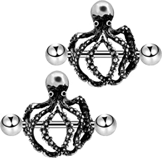 2PCS 14G Nipple Ring 316L Stainless Steel Octopus Nipple Piercing Burnish Silver Nipple Bar Nipple Barbell