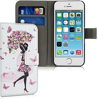 kwmobile telefoonhoesje compatibel met Apple iPhone SE (1.Gen 2016) / 5 / 5S - Hoesje met pasjeshouder in meerkleurig/roz...