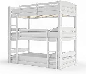 Dorel Living Phoenix Triple Bunk Bed, White