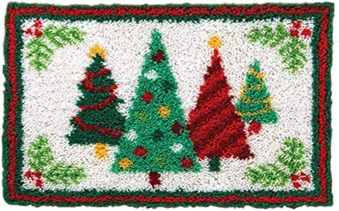 Latch Hook Kits DIY Cushion Cross Stitch Kits Embroidery for Adults Beginner DIY Needlework Rectangle Floor Desk Mat Home Decoration Christmas Tree