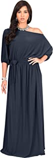Womens Long Sexy One Shoulder Flowy Casual 3/4 Short Sleeve Maxi Dress