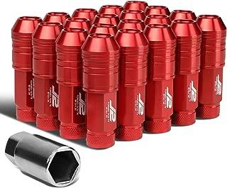 J2 Engineering LN-T7-025-125-RD 20Pcs M12 x 1.25 7075-T6 Aluminum 70mm Open-End Lug Nut w/Socket Adapter Key (Red)